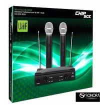 Microfone Duplo Uhf Sem Fio Profissional Chip Sce Sc-3004