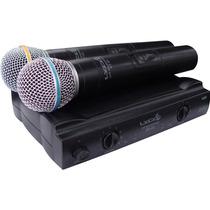 Microfone Sem Fio Duplo Lyco Uh02mm Mão Uhf C/ Espuma E Case