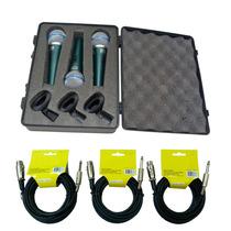Kit 3 Microfones Profissionais Bt58a Cabos+cachimbos+maleta