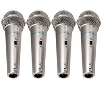 Kit C/ 4 Microfones Profissionais Dinamicos Csr + Cabos
