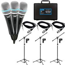 Kit 3 Microfone Profissionais + 3 Pedestais + Maleta + Cabos