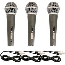 Kit 3 Microfones Profissionais + Cabos Similar A Shure Sm58