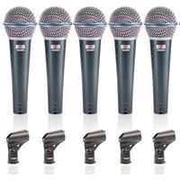 05 Microfones Beta 58 Arcano Bt-58 Igual Shure Completo Kit