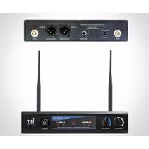 Microfone S/fio Mão Duplo Tsi Mod Ud-800 Uhf