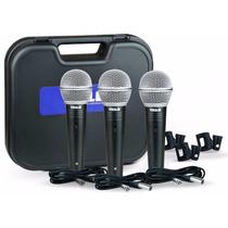 Kit Microfone Vokal Com 3 Cabos , 3 Cachimbos +case Vm500