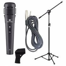 Kit Microfone De Mão Com Cabo Pedestal E Cachimbo Oferta!