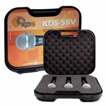 Kit 3 Microfones Kadosh C/ Case Maleta Estilo Shure Sm58 Top