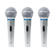 Kit 3 Microfone Profissional Leson Mc-200 + Cabos