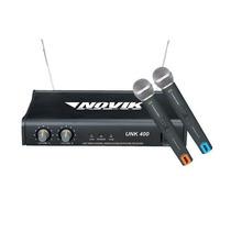 Microfone Sem Fio Duplo Uhf Unk400 Novik
