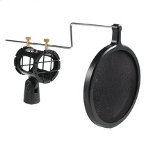Kit Shock Mount + Pop Filter Microfone Direcional Stúdio