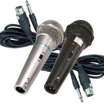 Kit 2 Microfones Profissional Com Fio Dynamic Csr 505