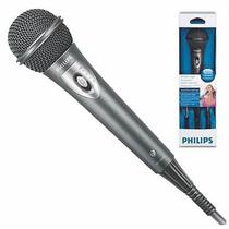 Microfone Philips Md-195 Com Volume Cabo De 5 Metros