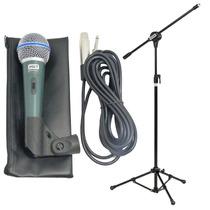 Microfone Profissional Bt58a + Pedestal Com Cachimbo + Cabo