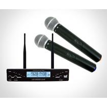 Microfone Tsi S/ Fio Duplo Mão Digital Xlr / P10 Ud2000 Uhf