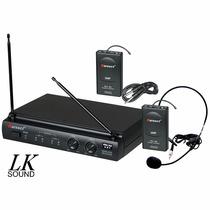Microfone Duplo Sem Fio Karsect Kru302 Uhf, Headset