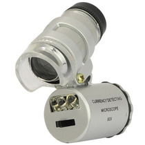 Frete Gratis!! Microscópio De Bolso 60x Luz Led Uv + Capa