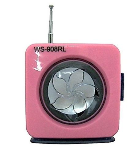 Mini Caixa De Som Portátil Radio Fm Ws-908rl Sdhc Pen Drive