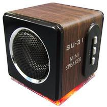 Mini Caixa De Som Mp3 Micro Sd Rádio Fm Bateria Recarregável
