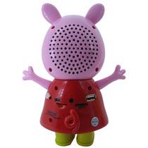Mini Caixinha De Som Portátil Peppa Pig Mp3 Fm Sd Usb Hi