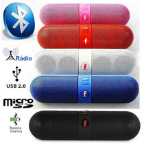 Mini Caixa Som Bluetooth Android Ios Usb Sd Radio Pill 6rms