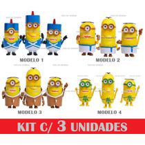 Caixa Som 3 Minions Fm Usb Pen Drive Sd - Kit Com 3 Unidades