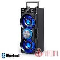 Caixa De Som Usb Portátil Bluetooth Led 20w Fm Sd Card Dj