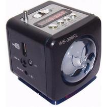 Caixa De Som Ws-908 Rádio Fm Entrada Usb Display Portátil