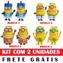 Caixa Som Minions Fm Usb Pen Drive Sd Par Kit Com 2 Unidades