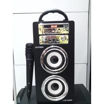 Caixa De Som Amplificada Usb/sd/fm/controle/microfone