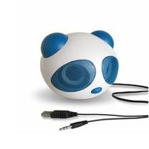 Caixa De Som Panda Portátil Fm/ Usb/ Pc /aux Azul Linda Luxo