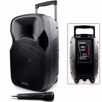 Caixa De Som Recarregável 150w Rms Amplificada Microfone Eco