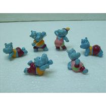 Brinquedo Antigo Kinder Ovo Bonecos Hipopotamo Lote C/ 06 Pç