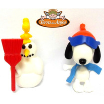 2 Bonecos Snoopy Inverno - Kinder Ovo Importado