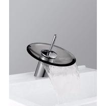 Torneira Misturador Monocomando Com Cascata De Vidro Fumê