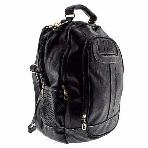 Bolsa Feminina Couro Preta : Mochila bolsa feminina preta couro sintetico pronta