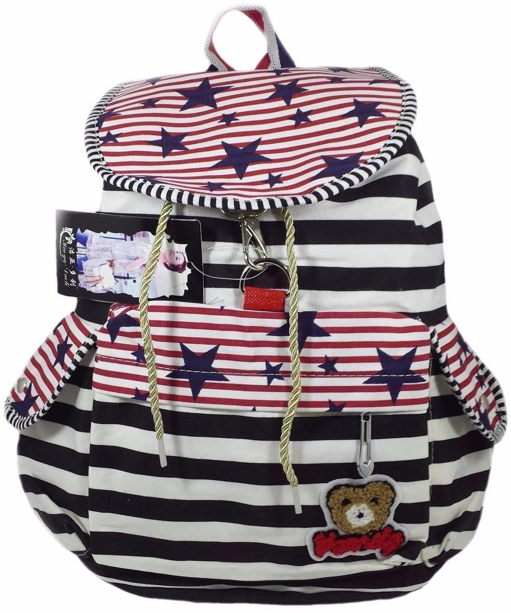 Bolsa Escolar Feminina Infantil : Mochila escolar lona azul bolsa pano feminina infantil r