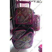 Kit Mochila Escolar Infantil De Rodinhas Monster High 2016