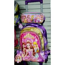 Kit Mochila Infantil Escolar Feminina C/ Rodinhas Princesas