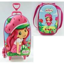 Mochila Infantil Rodinhas 3d + Lancheira Moranguinho Max Toy