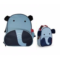 Kit Conjunto Mochila Lancheira Infantil Elefante Skip Hopzoo
