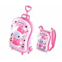 Mochila Infantil Hello Kitty Com Rodinhas Lancheira 3d