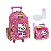 Mochila Escolar Barata Hello Kitty + Lancheira + Frete Grati