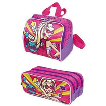 Lancheira+estojo Infantil Barbie Super Princesa Sestini