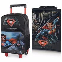 Kit 2 Em 1 ,mochila,carrinho,lancheira,batman/superman