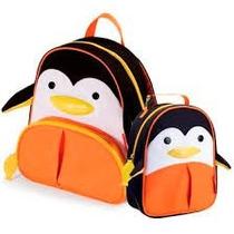 Kit Conjunto Mochila Lancheira Infantil Pinguim Orange Idea