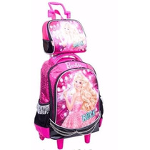 Kit Mochila Barbie Rock Royals Microfone Rodinha + Lancheira