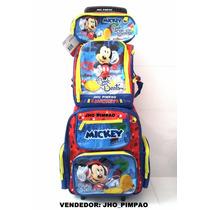 Mochila Mickey Kit Completo Com Lancheira E Estojo 2016