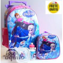 Kit Mochila De Rodinhas Frozen + Lancheira - Pronta Entrega