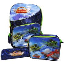 Kit Mochila Roda Masculina Infantil Aviões (3pçs) Verde