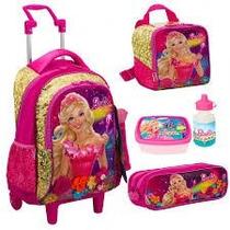 Kit Mochila Escolar Rodinhas Barbie Portal Secreto Dourada